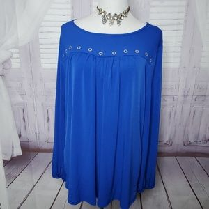 NEW NY COLLECTION PLUS SIZE 1X ROYAL BLUE TOP FALL
